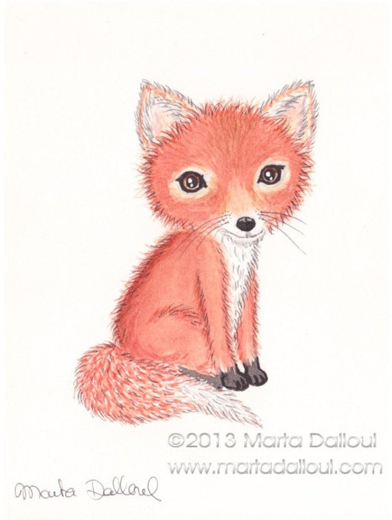 Items similar to Fox watercolor art print. Baby fox ...