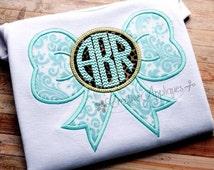 Bow Monogram Machine Embroidery Applique Design