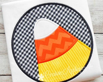 Candy Corn Circle Digital Machine Embroidery Applique Design 4 Sizes, candy corn applique, halloween applique, halloween candy applique