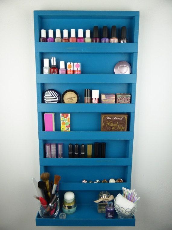 blue nail polish rack make up organizer bathroom storage