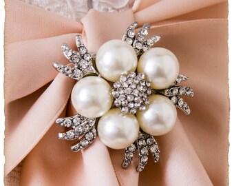 Crystal and Pearl Brooch For Bridal Sash, Bridal Sash Brooch, Wedding Brooch
