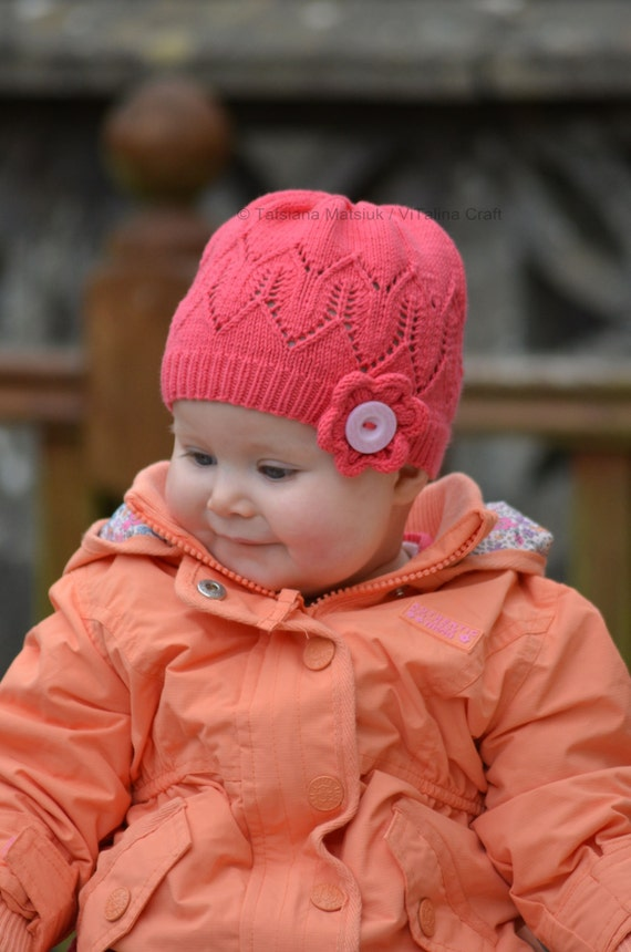 Knitting Pattern Coralline Flower Hat Baby Child and Adult