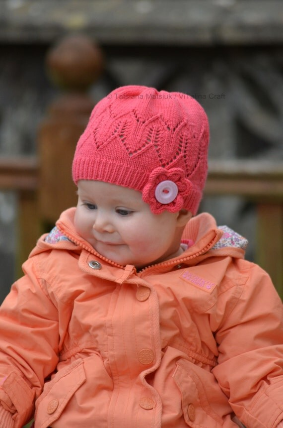 Knitting Pattern For Flowers On Hat : Knitting Pattern Coralline Flower Hat Baby Child and Adult