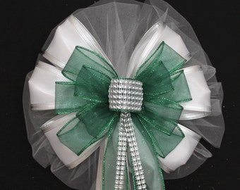 Emerald  Green Bling Sparkle White Sparkle Wedding Pew Bow - Church Aisle Decorations, Church Pew Bows, Bling Wedding Bow, Green Wedding Bow