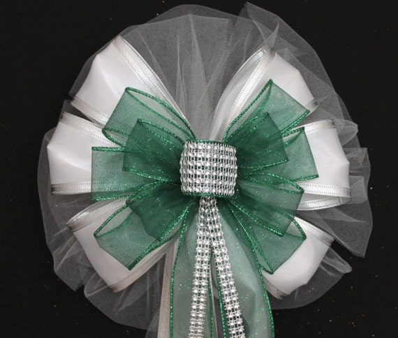 Emerald Green Bling Sparkle White Sparkle Wedding Pew Bow - Church ...