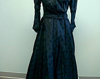 Antique Victorian Era Black Cotton Brocade Walking Suit