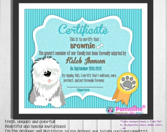 8x10 printable puppy adoption certificate pet lovers for Dog show certificate template