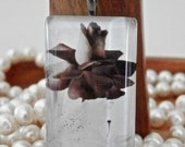 Sepia flower rose and lily glass tile pendant