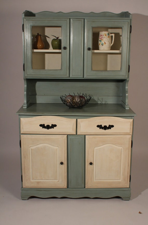 Vintage Farmhouse Hutch And Buffet With Duck Egg Blue And Old