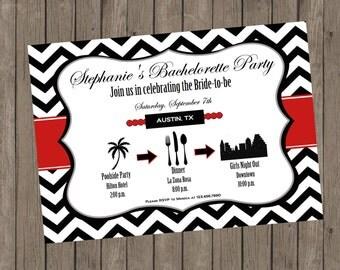 Printable Bachelorette Invitation - Stephanie Red