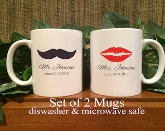 Personalized Mr. & Mrs. Coffee Mugs, Shower Gift, Wedding Gift, Anniversary Gift