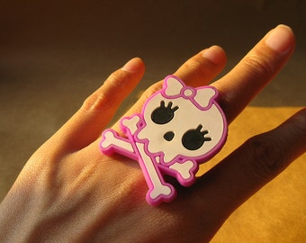 X100- Lavender Skull Soft Rubber Adjustable Ring