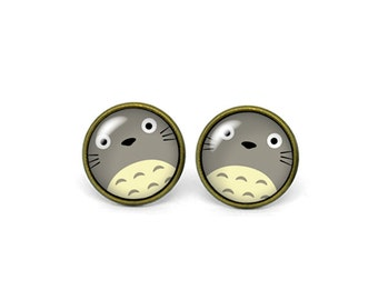 X217- Totoro, Glass Dome Post Earrings, Stud Earrings, Post Earrings, Small Studs