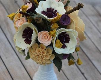 Custom Felt Flower Wedding Bouquet