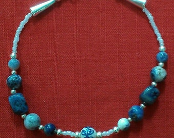 delft: beaded anklet featuring sodalite, porcelain, silverplate, and white glass beads