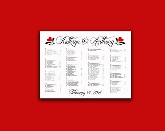 Valentine Wedding Seating Chart - Your Choice of Colors - Let Love Bloom Collection