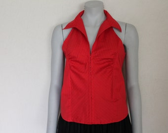Red  Summer Backless  Top Sleeveless Blouse Open Back Cotton Large Size