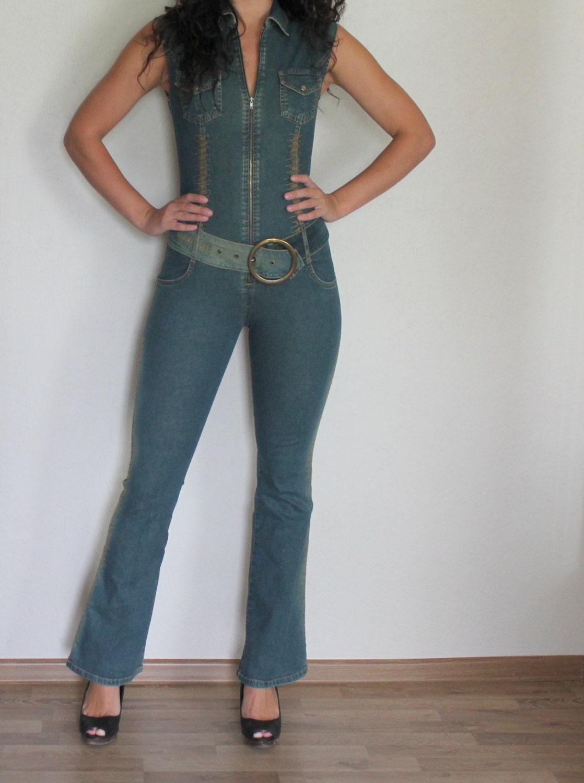 Women Denim Jumpsuit One Piece Romper Pants Blue Jean Fitted