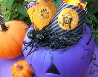 Orange & Black Halloween monster stickers, candy trick or treat stickers, spooky retro round adhesive labels, frankenstein witch devil wolf