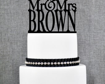 Modern Last Name Wedding Cake Toppers, Unique Personalized Wedding Cake Topper, Elegant Custom Mr and Mrs Wedding Cake Toppers- (T014)