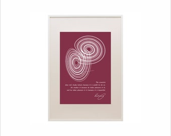 Science art - Physics - Poincare quote & Lorenz strange attractor extra large poster on paper or canvas up to A0 size  educational art