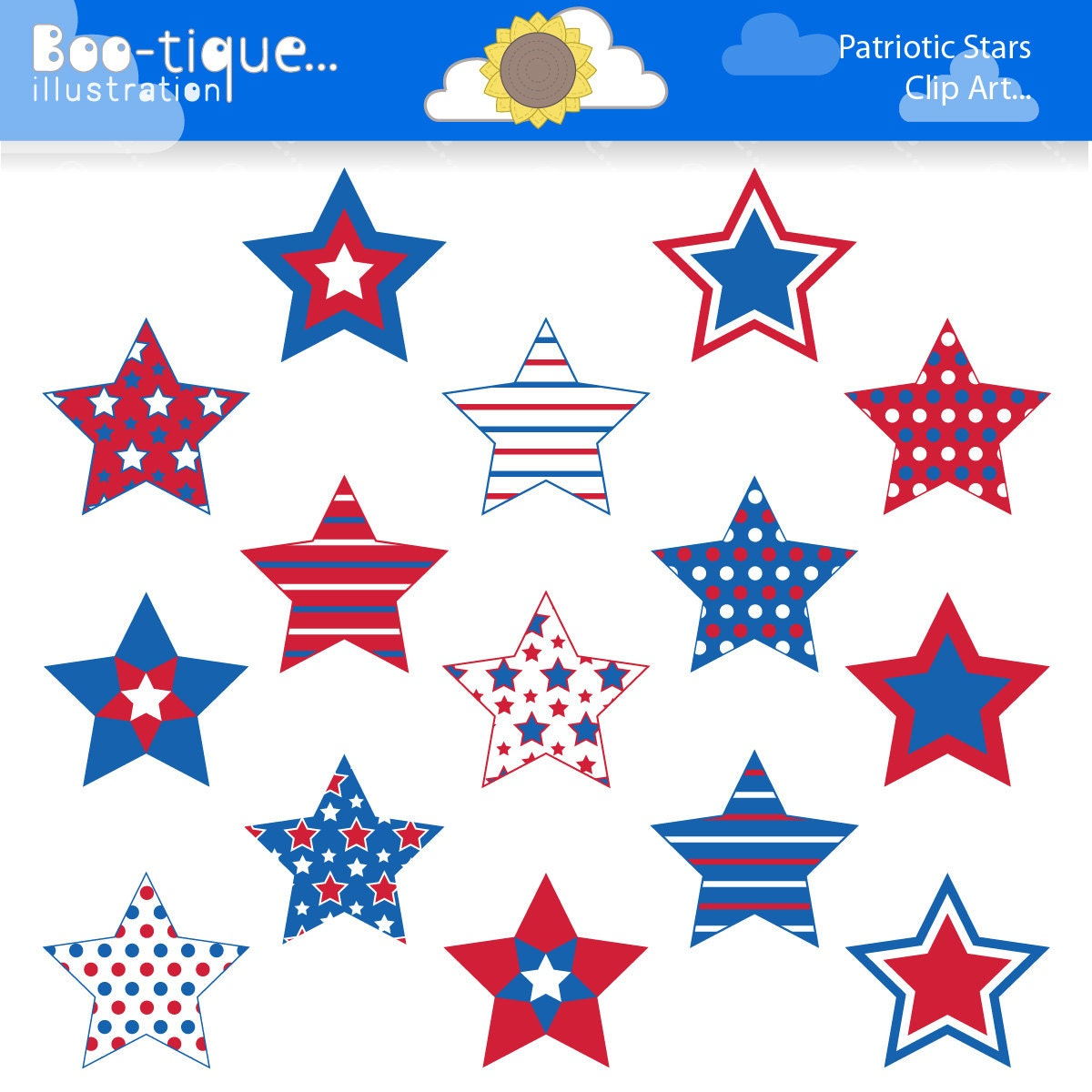 Stars Digital Clipart for Instant Download. July 4th Stars ...