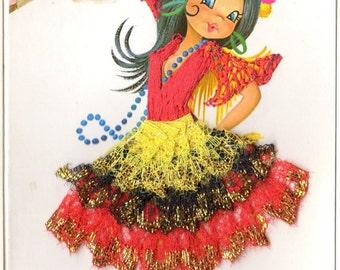 Vintage Hand-Embellished Postcard: Silk-Embroidered Postcard of Spanish Dancers. UNUSUAL!!