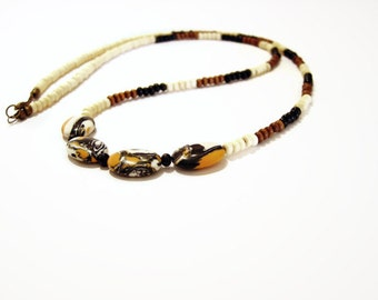 Beaded tribal necklace, Long wooden necklace, Long tribal necklace, Earthy jewelry