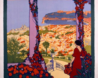 Vintage Travel ad Poster Monaco Monte Carlo Roger Broders Giclee Art Print Stretched Canvas Option
