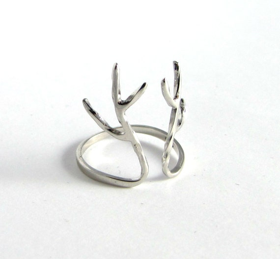 sterling silver deer antler ring by silverphantomjewelry