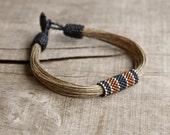 Nautical men's bracelet, art beadwork bracelet, linen bracelet for men, organic jewelry, mens beaded bracelets, marine men's jewelry