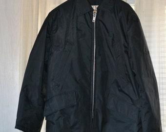 Golden Fleece Men's Vintage Work Coat Parka Black Yukon Cloth Waterproof Acid Resistant Great Cond Zip Hood Not Incl 44 Black Work Coat M L