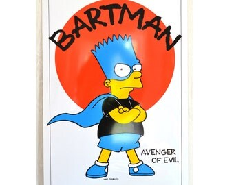 NOS The Simpsons Poster Wall Hanging Plastic Mini Poster Bart Simpson Bartman Avenger of Evil Many Styles & Designs Avail New Old Stock