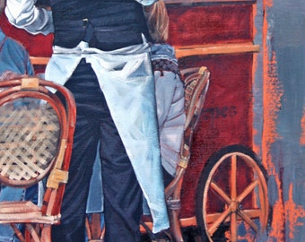 Giclee art print on archival cotton rag paper from my impressionist oil painting 'French Waiter II'