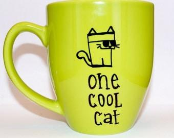 Hand Drawn One Cool Cat Mug (Customizable)