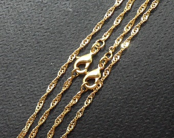 """18"""" Gold Plated Wave Chains With Losbter Clasp -- Wholesale Bulk Sale Handmade Craft Supply Gold Plated Accessory Charm Necklace"""