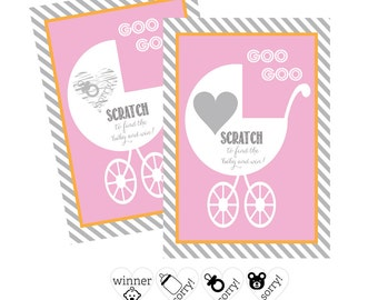 Girl Baby Shower Game -Fun Baby Shower Game Baby Shower Scratch Off Cards Baby Shower Ideas for Girls -Scratch Off Game -12 cards (EB3022BP)