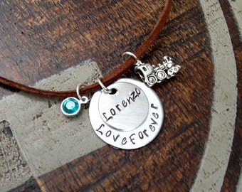 Mother Son Necklace Handstamped Necklace Love Forever Necklace Personalized Jewelry Handstamped Jewelry Suede Jewelry Childs Name Necklace
