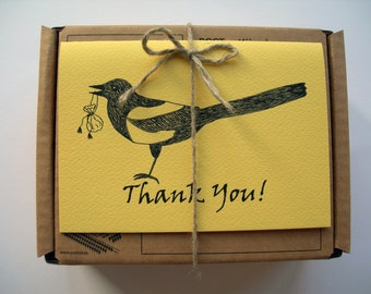 """Magpie """"Thank You"""" Card. One folded card. 5 colours. Custom Envelope."""