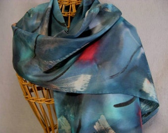 "Hand Painted Silk Scarf ""Teal Brushstroke"""