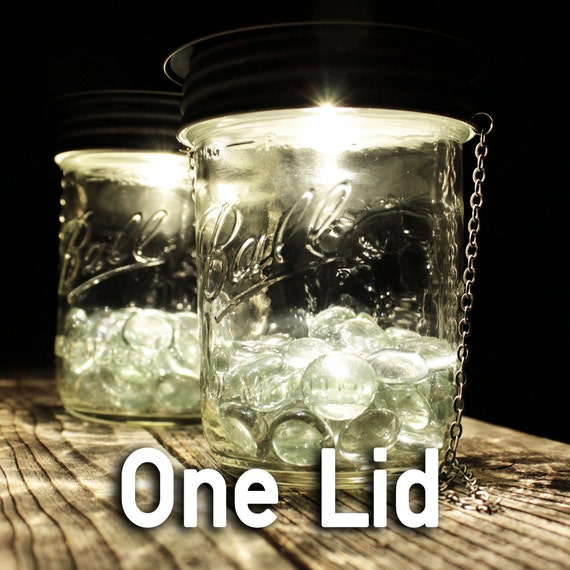 Rustic Brown Solar Lantern Lid for Mason Jars (Wide Mouth) - Optional Hanger