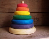 Rainbow wooden stacker, wooden toy by Atelier Cheval de bois