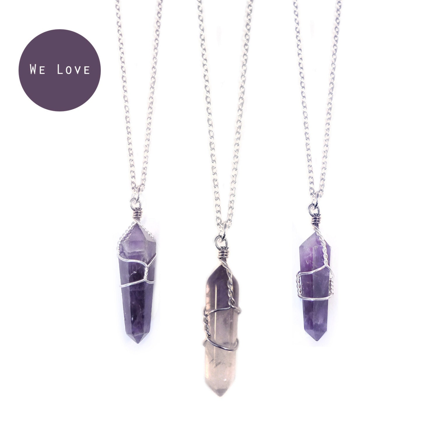 amethyst crystal necklace - photo #34