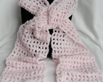 Crochet Powder Pink Scarf*Sparkly Soft Fashion Scarf*Super Soft 77 Inches Long*Women/Girl Gift*Christmas Gift*Neck Warmer