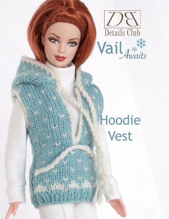 Knitting pattern for 11 1/2 doll Barbie: Hoodie Vest
