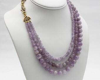 Amethyst Necklace, Lavender Amethyst Statement Necklace, Gemstone necklace, Handmade Jewelry, Gemstone Jewelry