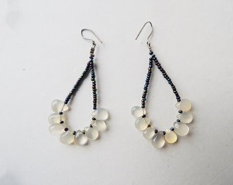 Translucent White Onyx Loop Earrings