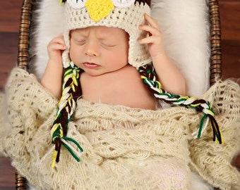 Infant Crochet Owl Hat