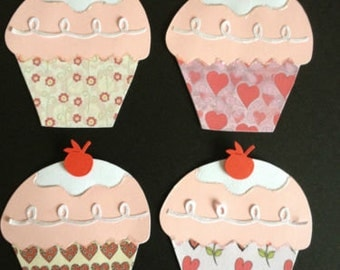 4 Handmade Love themed Cup Cake die cuts card toppers for valentines, celebrations and scrapbooking