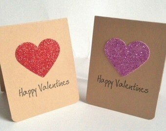 x 2 handmade Eco friendly recycled Glitter heart 'Happy valentines' cards - with envelopes 2 in a pack